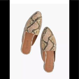 Madewell $128 Frances Skimmer Mule Snake Embossed